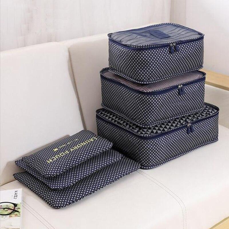 Ménage portable boîte étanche vêtements organisateur boîte de rangement sous-vêtements soutien-gorge emballage maquillage cosmétique sac de rangement en tissu 6 pcs/ensemble