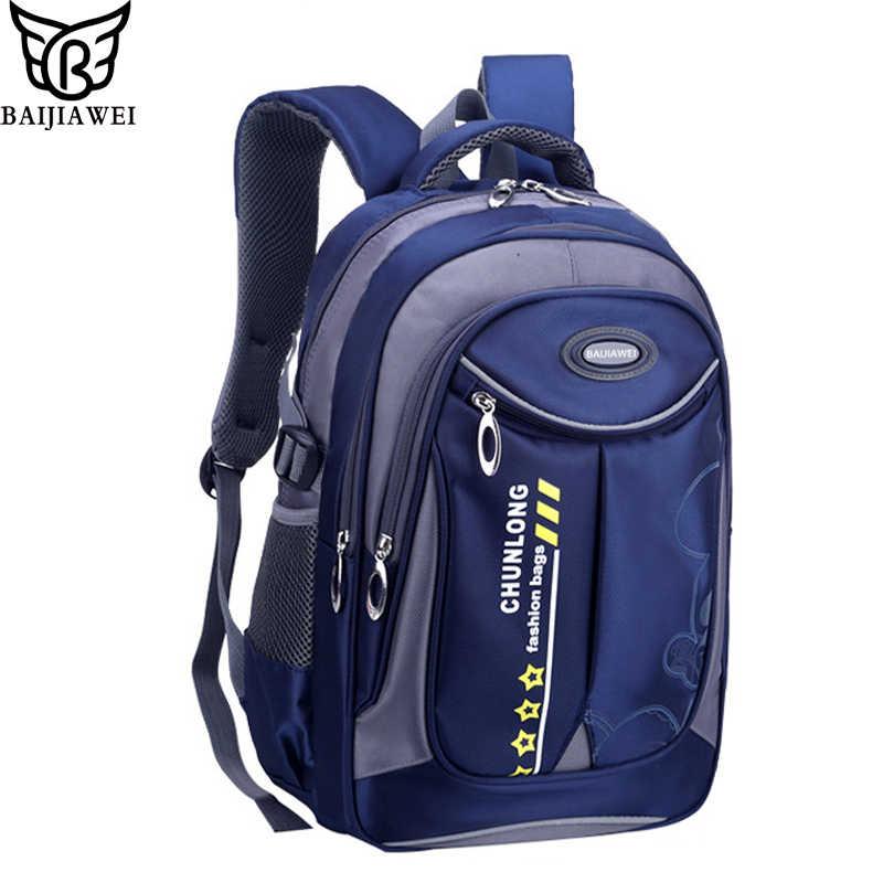 35c9070587d8 BAIJIAWEI 2019 Новый дизайн Детские рюкзаки сумки для начальной школы  безопасный рюкзак для мальчиков девочек водонепроницаемые