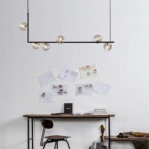 Image 3 - 北欧シンプルなデザインガラス玉シャンデリアクリエイティブアート分子ホールリビングルームレストランサスペンション照明器具