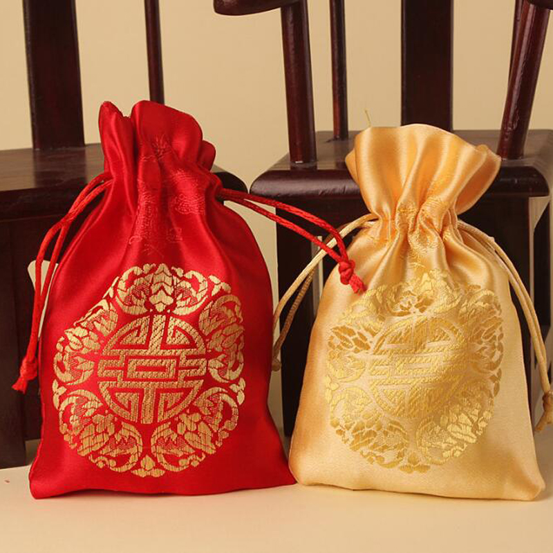 Relatively 50 pieces/lot)Chinese Silk Embroidery Gift Pouch Red/Gold Color  YT97