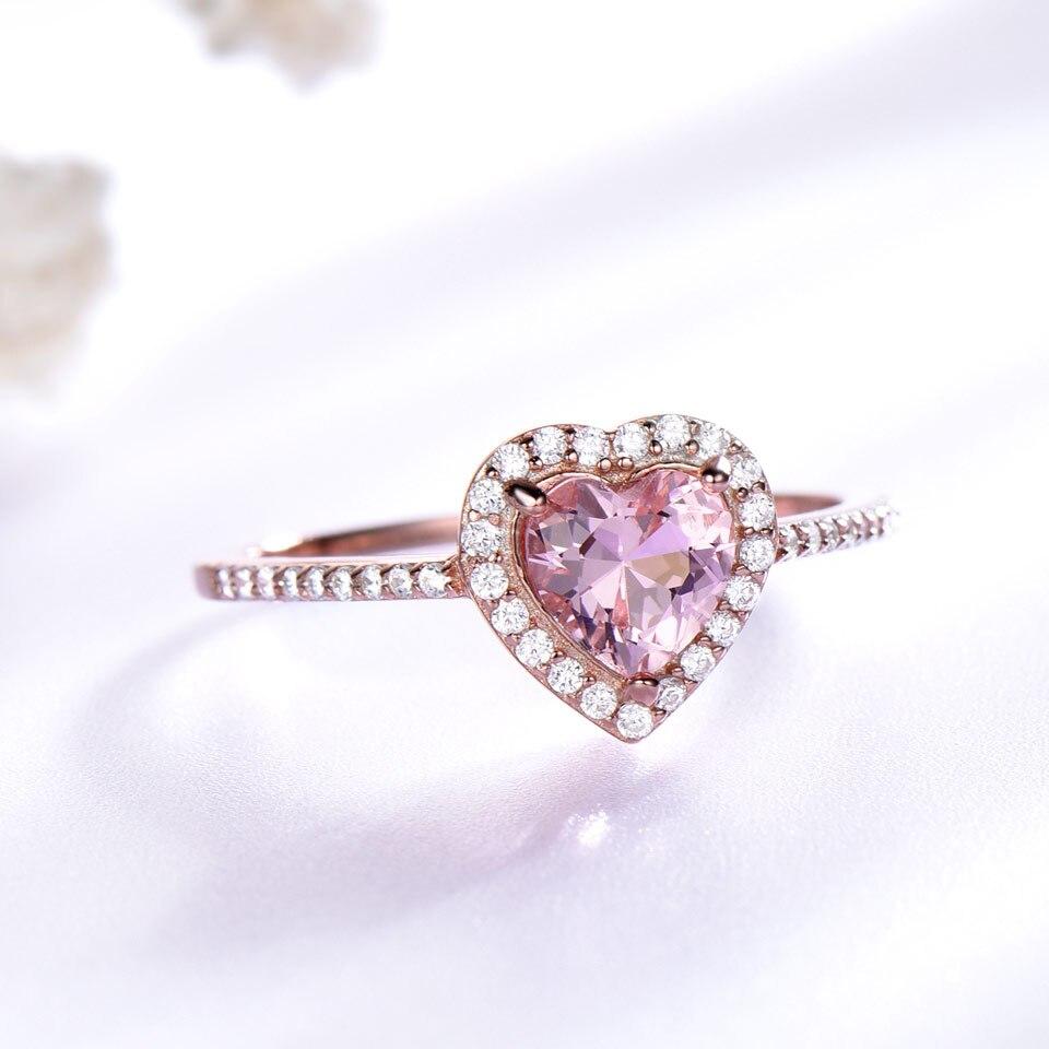 Ensemble de bijoux en argent Sterling 925 UMCHO pour femmes romantique coeur Morganite pendentif boucles d'oreilles fête saint valentin bijoux fins - 2