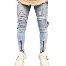 NIBESSER 2018 Skinny Jeans Men Sexy Ripped Hole Stretch Denim Trousers Male  Autumn Straight Streetwear Pencil aa90b542aece