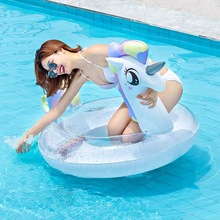 Super Large Pegasus Unicorn Swimming Ring The New Adult Summer Party Shiny Inflatable Seat Float Kid Gift Pool Toys Beach