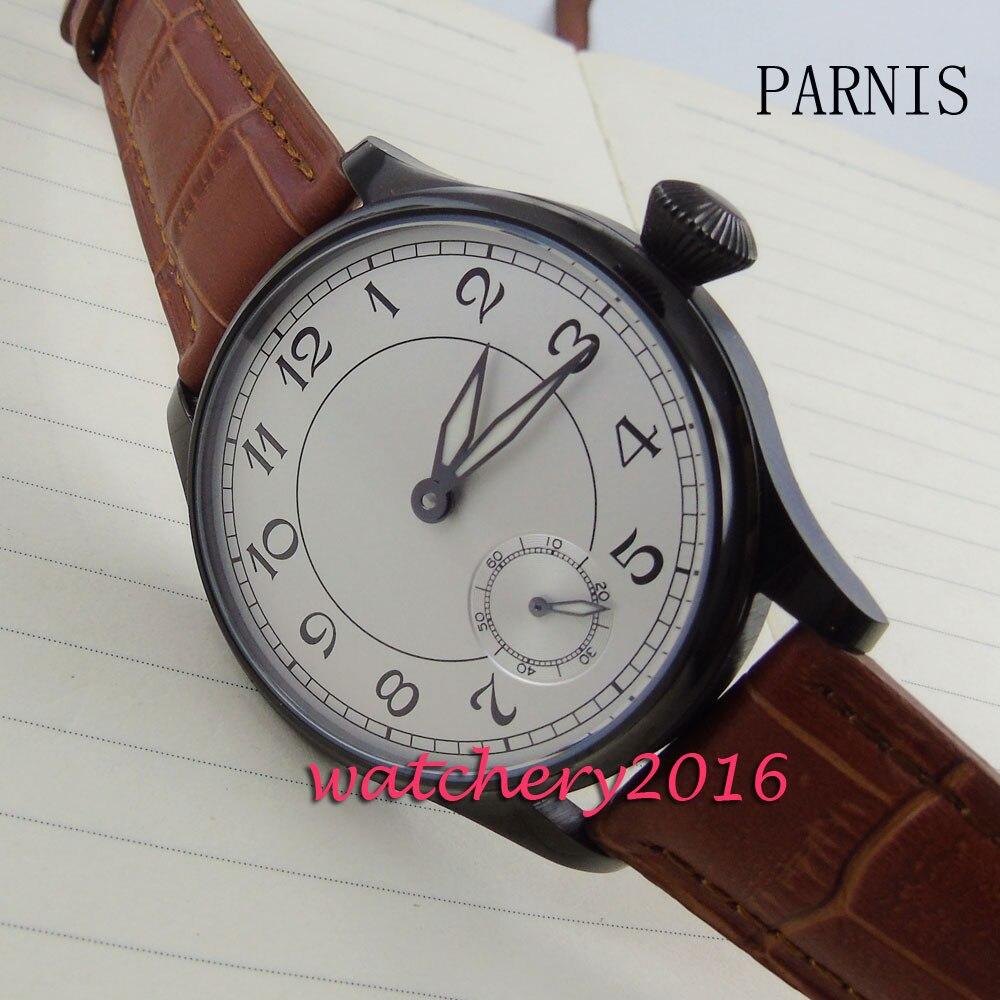 где купить new 44mm Parnis white dial brown Leather strap black PVD hand winding 6498 movement Men's business Watch по лучшей цене