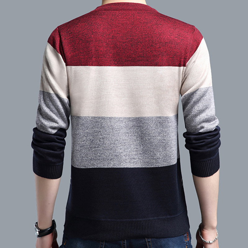 2018 brand social cotton thin men's pullover sweaters casual crocheted striped knitted sweater men masculino jersey clothes 5066 3