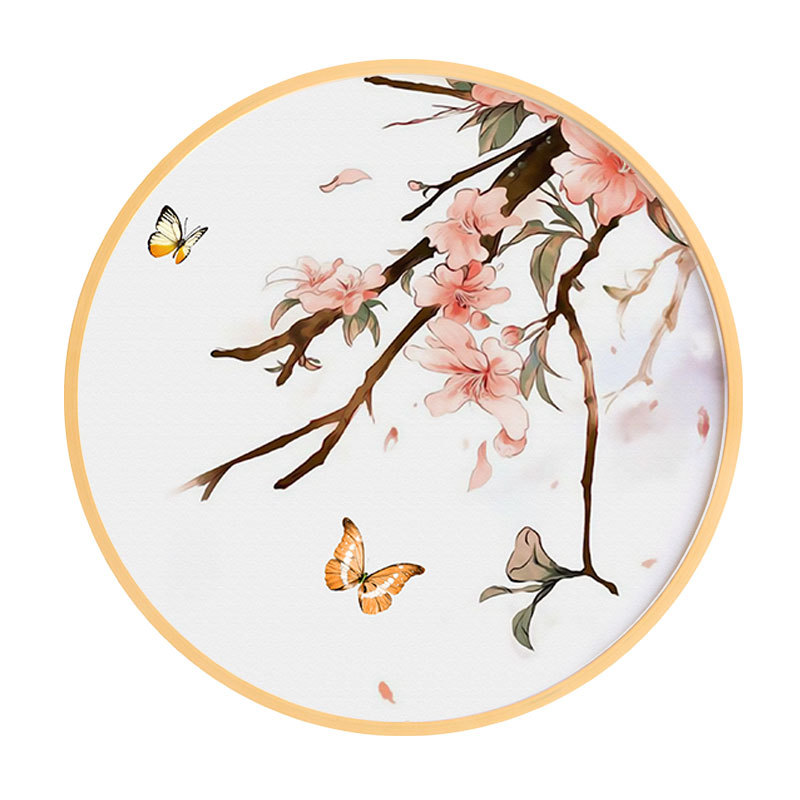 Chinese style solid wood round decorative painting simple modern living room paintings restaurant Watercolor flowers birds mural in Painting Calligraphy from Home Garden