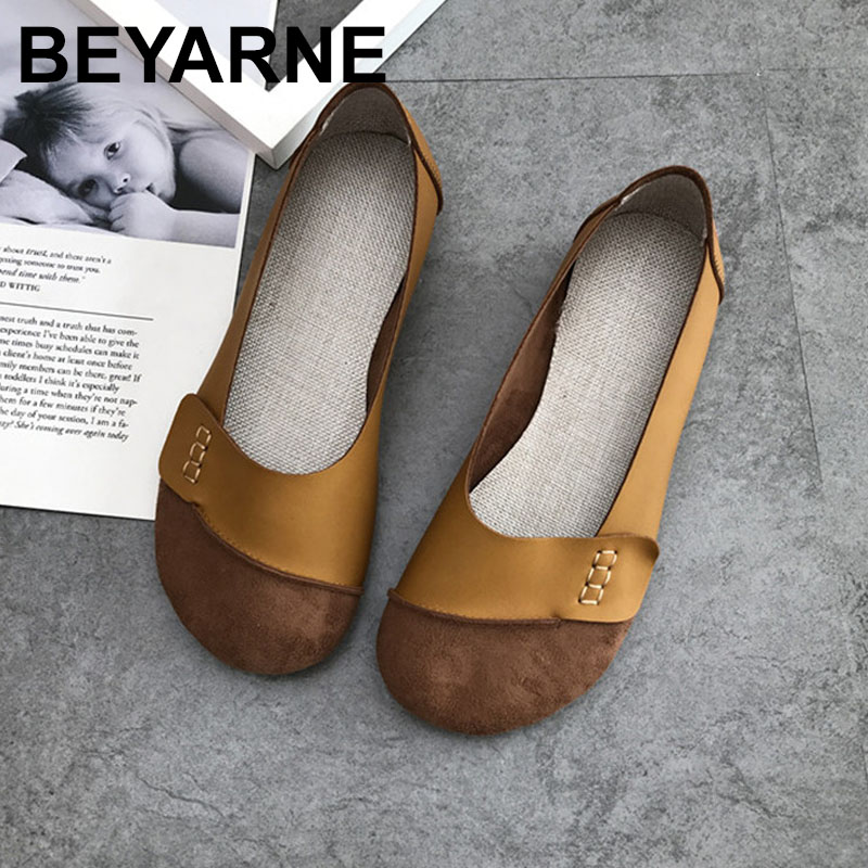 BEYARNE  2019New Fashion Casual Soft Soled Shoes Retro Solid Color Flat Shoes Simple ShoesE103