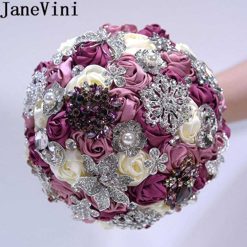 JaneVini Sparkly Crystal Brides Bouquet Diamond Satin Rose Wedding Flowers Bridal Bouquets Artificial Beaded Bouquet De