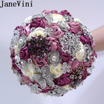 JaneVini Sparkly Crystal Brides Bouquet Diamond Satin Rose Wedding Flowers Bridal Bouquets Artificial Beaded Bouquet De Fleur