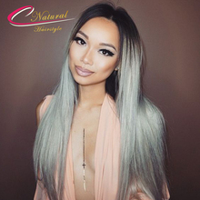 Ombre Grey Human Hair Full Lace Wig Straight Brazilian Virgin Hair Dark Roots Ombre 1B Gray