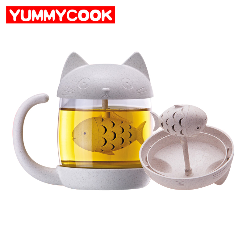 250ml Cute Cat Glass Travel Mug With Filter Coffee Tea Drinkware Cup Outdoor Wholesale Cooking Kitchen