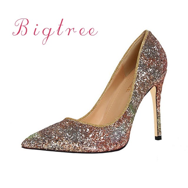 Fashion Sequins Shoes Woman High Heels Luxury Brand Wedding Shoes Pumps  Heel Sexy Pointed Toe High 83db3bee14a2