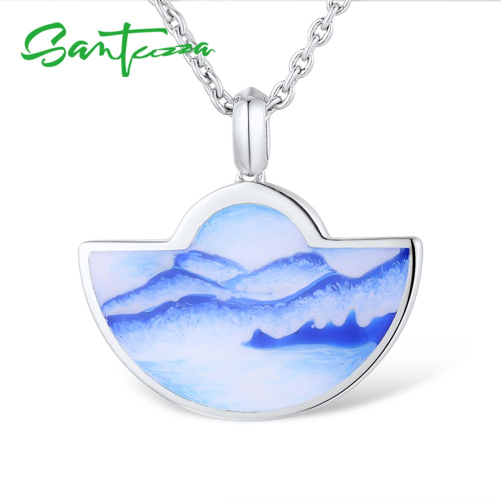 SANTUZZA Silver Pendant For Women Genuine 925 Sterling Silver Blue Mountain And Sea Pendant Party Fine Jewelry HANDMADE Enamel