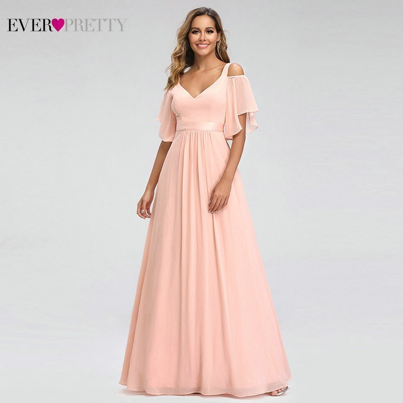 Ever Pretty Elegant Pink Evening Dresses Long A-Line Off The Shoulder V-Neck Sexy Formal Party Gowns EP07871PK Abendkleider 2019