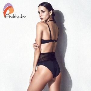 Image 5 - Andzhelika Bikini Patchwork, maillot de bain pour femmes, Push Up, Sexy, ensemble trois types de vêtements, loi, costume de bain