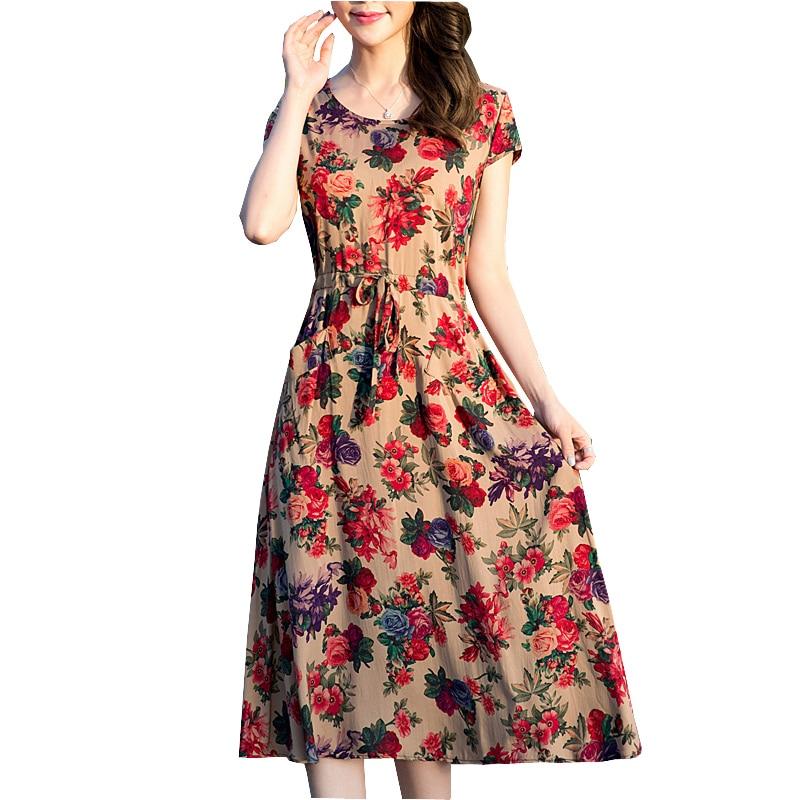 2017 women summer dress casual print cots