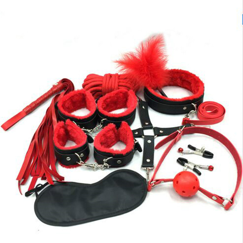 <font><b>10</b></font> Pcs/ Set <font><b>Sex</b></font> Toys For Adults Bdsm Bondage e Fetish Mask Handcuffs Nipple Clamps Mouth Gag Bdsm Mask Whip For Women image
