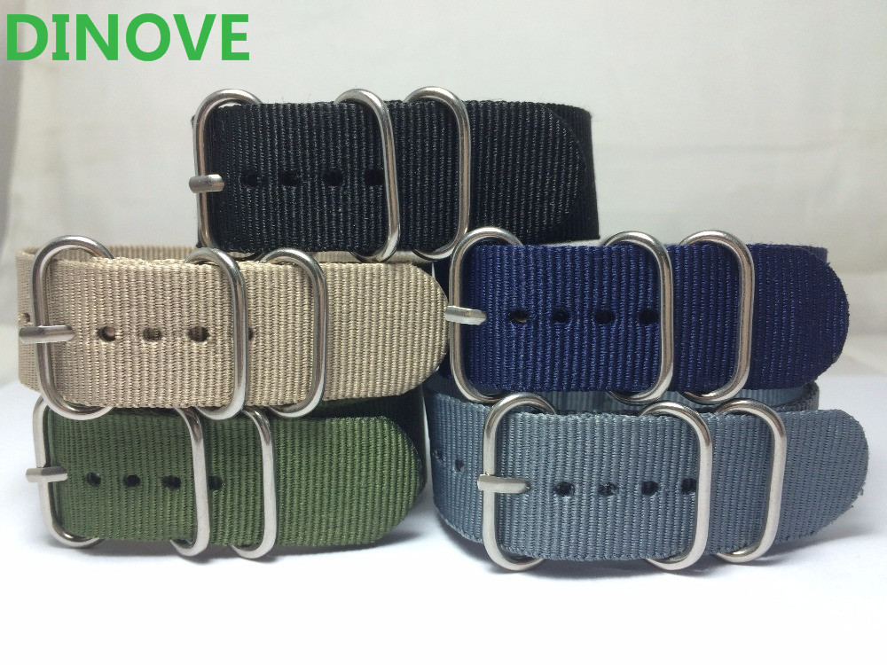 DINOVE New Arrival Heavy Duty Watchband Military Quality Nylon 5 Ring ZULU NATO G10 Watch Strap