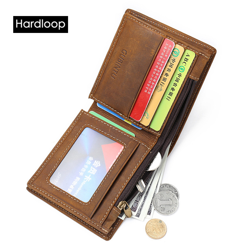 ФОТО Hardloop Brown Coffee Horse Leather Short Mens Wallet Leather Genuine Luxury Brand Vintage England Style Casual Business Purse