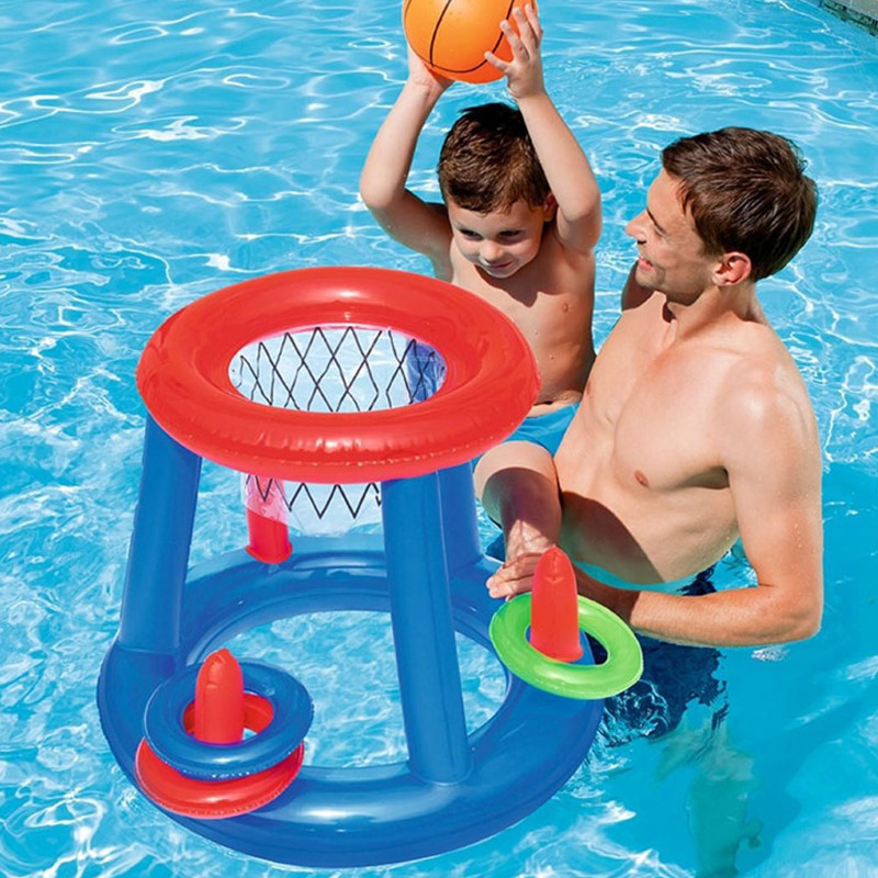 Childrens Inflatable Floating BasketBall Hoop Ring Toss Kids Swimming Pool Toy S7JN