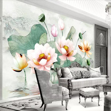 3D stereo lotus fresh watercolor leaf TV background wall professional production wallpaper mural custom poster photo