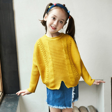 2017 Shcool Girls Fashion Sweater Batwing Sleeves Loose Design Korean Style Woolen Shirts for Kids Age 56789 10 11 12 Years Old