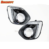 style Relay Waterproof 12V LED Car light DRL Daytime running lights with fog lamp hole for Mitsubishi ASX 2013 2014