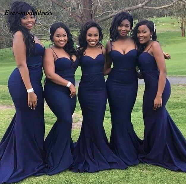 Navy Blue Mermaid Plus Size Country   Bridesmaid     Dresses   Spaghetti Trumpet Long Wedding Guest Party Gowns vestido de festa longo
