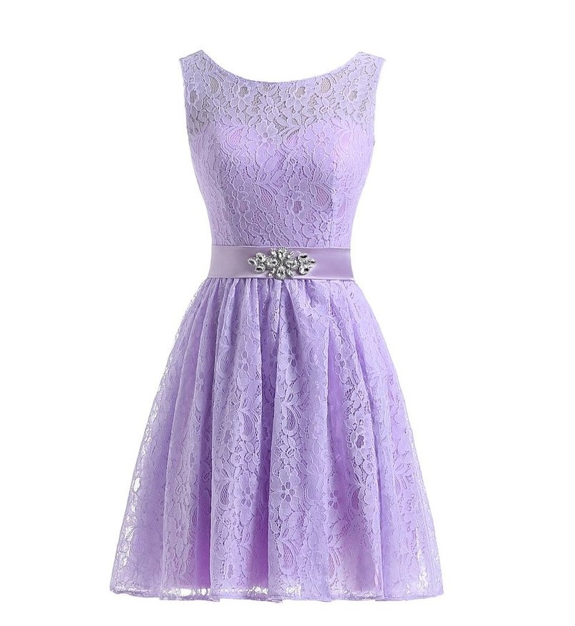 Purple Lilac Lavender Bridesmaid Dresses Lace Knee Length With Crystal Beading Maid Of Honor Beach Wedding Party Dresses Pink