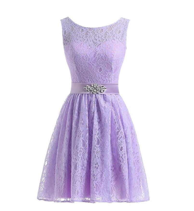 Púrpura Lila lavanda Vestidos de dama de honor Encaje rodilla con ...