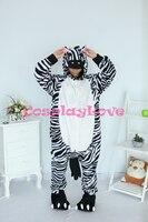 Zebra Pajamas Animal Cosplay Costume Kid Adult Pajamas Onesies Cartoon Sleepwear Sleepsuit