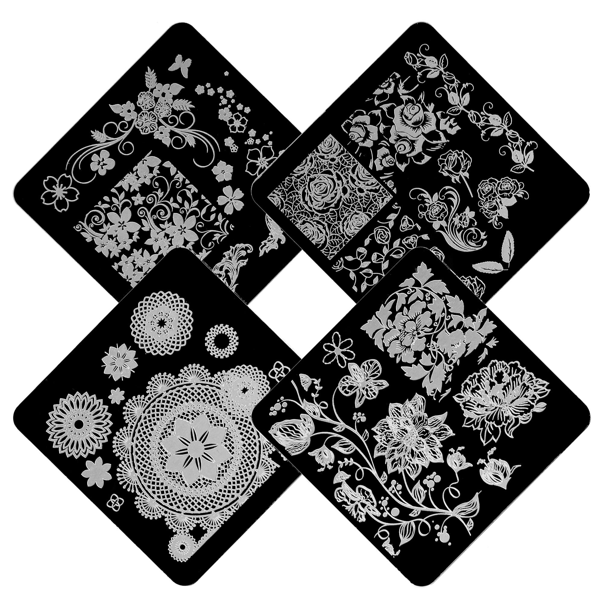 639 4 Unidsset Negro De Acero Inoxidable De Encaje Flor De Arte De Uñas De Placas Uñas Cuadradas Plantilla Polaco Imagen Diseños Sello De Esmalte
