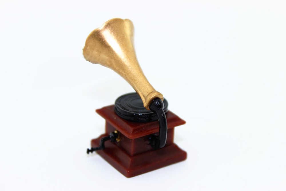 1/12 casa de bonecas em miniatura acessórios mini retro fonógrafo simulação móveis modelo brinquedos para casa boneca decoração