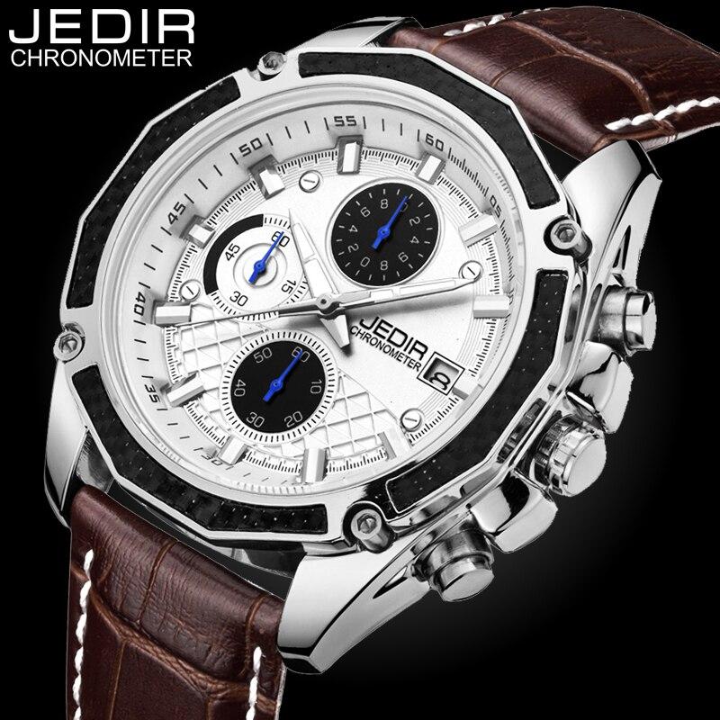 Original JEDIR Quartz Male Watches Genuine Leather Watches Racing Men Students Game Run Chronograph Watch Male Glow Hands Clock