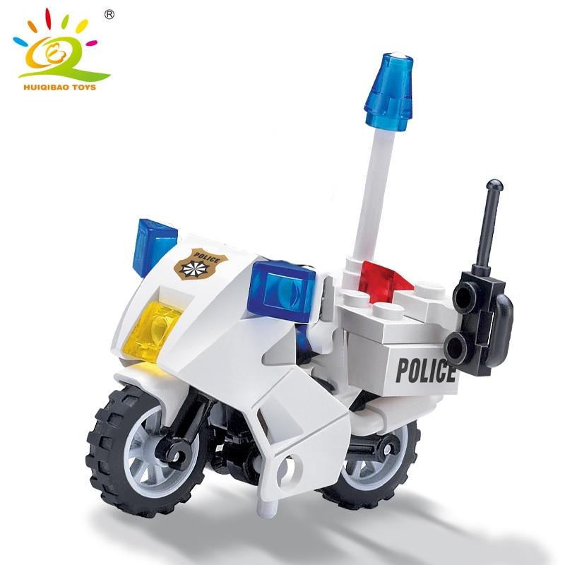 HUIQIBAO City Police Patrol Motorcycle Building Blocks Sets MINI Street Bike Policeman Model Bricks Educational Toy for Children