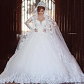 Designer Said Jewel Appliqued Beaded Bling Bling Long Sleeve Princess Puffy Wedding Bridal Dresses
