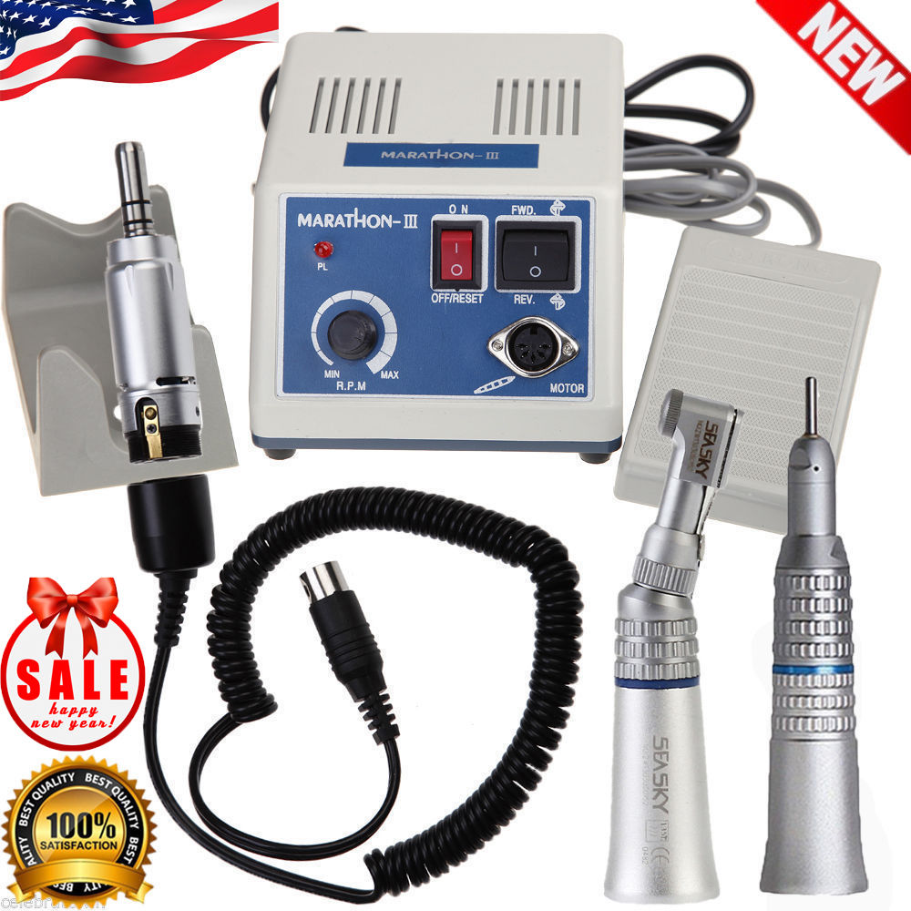 2018 NEW dental Lab micromotor polish handpiece with contra angle & straight handpiece MARATHON 3 + Electric Motor deasin new arrival inner and outer waterway dental electric motor straight contra angle handpiece
