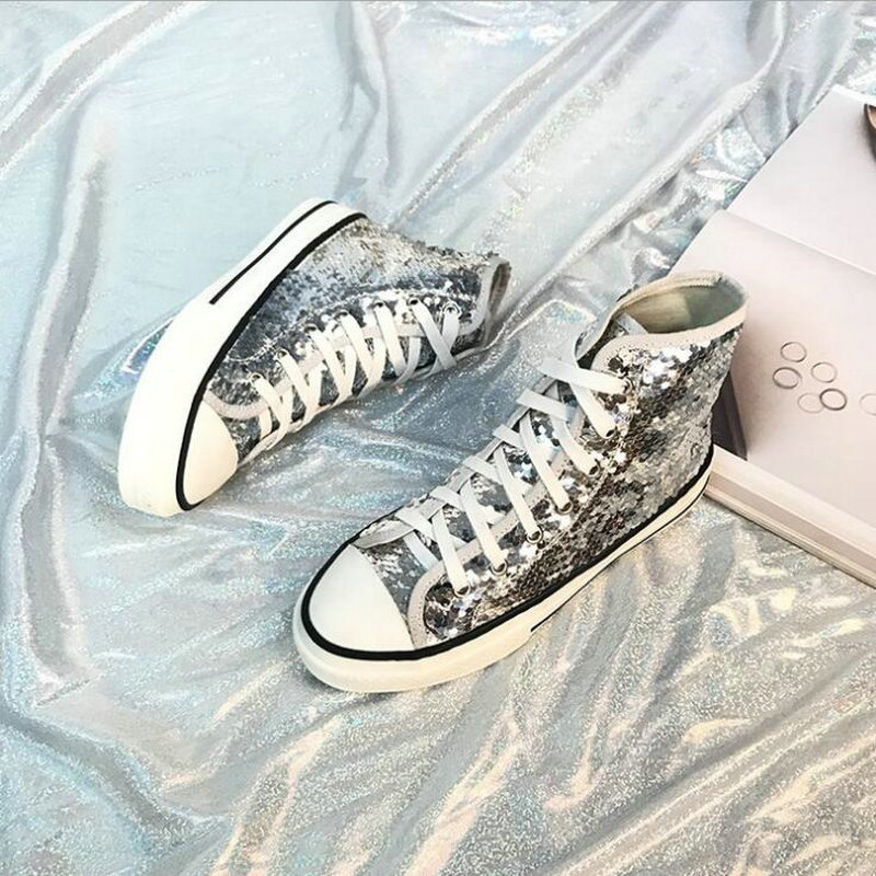 Tleni 2018 New High Top White Women Flats running Shoes Ladies Canvas Shoes lace-up Bling Bling sneaker shoes ZK-20 5