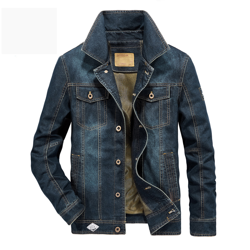 New European Style Brand AFS JEEP Denim Jacket Men Casual Cowboy Jeans Coat Men Single Breasted Mesh Liner Outwear Plus Size 6XL