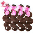 "Queen Hair Products 4 Bundles Lot Brazilian Virgin Hair Body Wave 100% Human Hair #2 Natural Brown Color 14""-20"" Free Shipping"