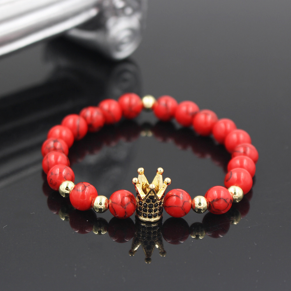 Black CZ King Crown Charm Bracelets Elastic Adjust Men Women Natural Red Howlite Stone Beads For Women Men Jewelry men beaded bracelet red