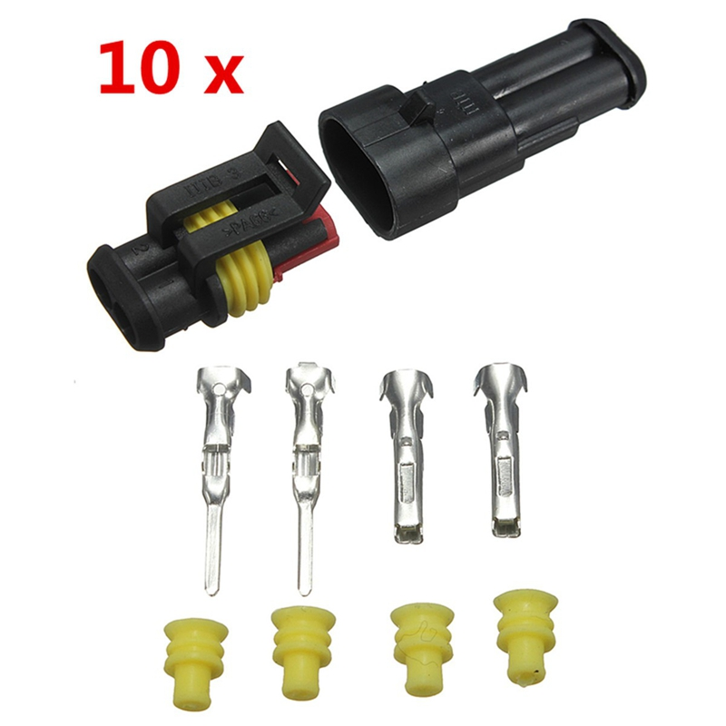 Newest 10sets Car Part 2 Pin Way Sealed Waterproof Electrical Wire Auto Connector Plug Set 10kit 282088 1 282106 1 ip67 4pin way super sealed waterproof electrical wire connector auto plug for car caravan marine jet
