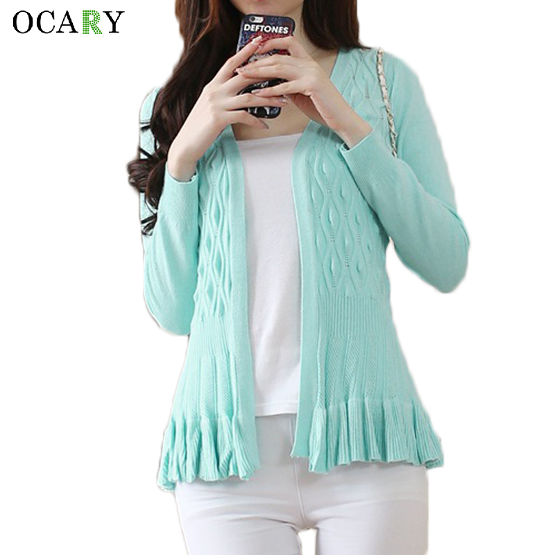 Elegant Ruffles Spring Long Sleeve Women Cardigans Fashion Summer Thin Sweater Mujer Casual Crochet Femme New Ladies Tops ...