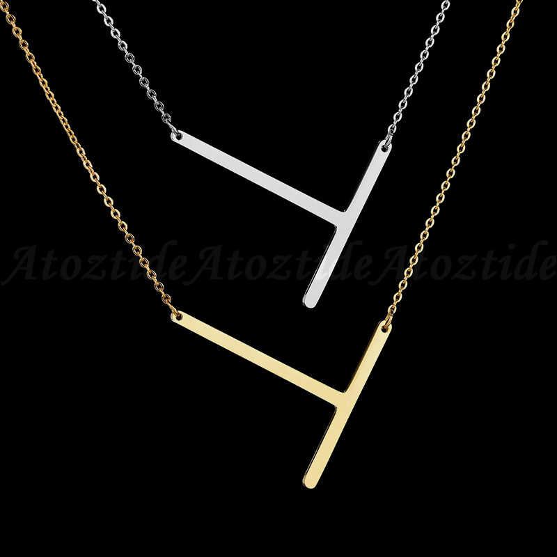 Atoztide Personalize Inicial Letra T Pingente Mulheres Colar Gravura Nome Ouro Colar Alfabeto Kettingen Voor Vrouwen