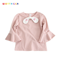 WOTTAGGA 2018 Girl Cotton T Shirt Short Flare Sleeve Princess O neck Tee Shirt 2018 Summer New Striped Knotted Kids' Clothing