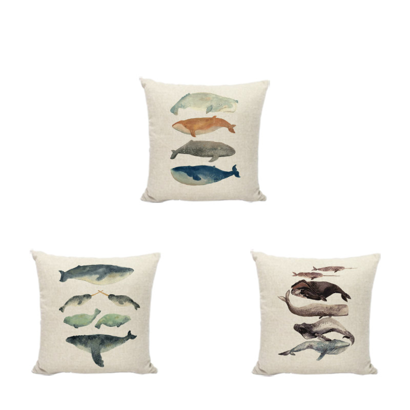Watercolor Painting Cushion Cover Dolphin Whale 45*45cm Square Shark Lovely Narwhal Home Couch Yard Decorate Throw Pillow Case