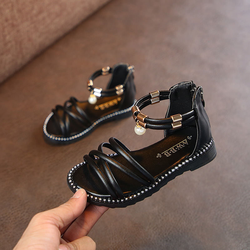 AFDSWG Summer Sandal Kids PU Sandals For Toddler Girls Red Princess Shoes For Girls Kids Black Kids Stud Shoes Sandal Princess