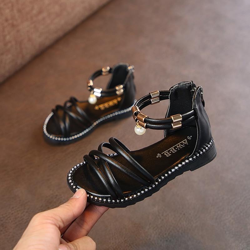 AFDSWG Summer Sandal Kids PU Sandals For Toddler Girls Red Princess Shoes For Girls Kids Black Kids Stud Shoes Sandal Princess