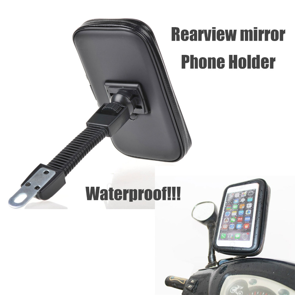 Car rearview mirror mount holder car reviews - Rearview Mirror Motorcycle Phone Holder With Stand Support For Iphone67 Plus Gps Holder With Waterproof Bag Soporte Celular Moto