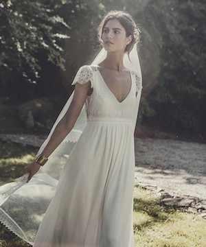 Vintage V צוואר Boho שיפון תחרת חוף שמלות כלה 2017 עם שרוול קצר אלגנטי כלה בתוספת גודל